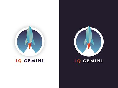Logo Concept launch gradient iq brand gemini space rocket logo