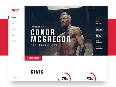 UFC Fighter Page website ui redesign fighter mcgregor conor mma ufc