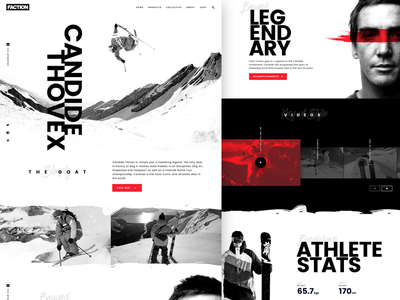Faction Athlete Page snowboarding skiing website concept redesign mountains freeride winter collective athlete faction thovex candide freeski ski