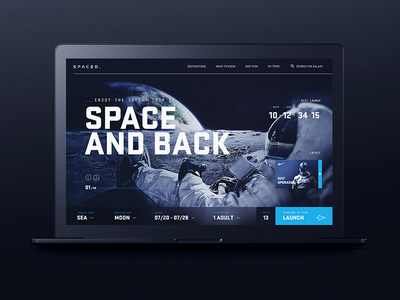 Spaced WIP launch astronaut moon space concept website ui homepage spaced