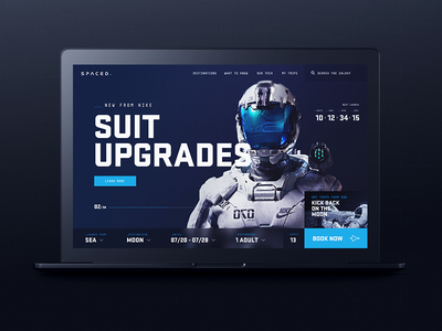 Spaced WIP #2 launch astronaut moon space concept website ui homepage spaced