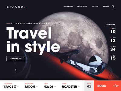 Spaced Roadster roadster falcon tesla astronaut moon space concept website ui homepage spaced