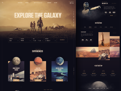 Spaced Entry planets mars astronaut moon space concept website ui homepage spaced
