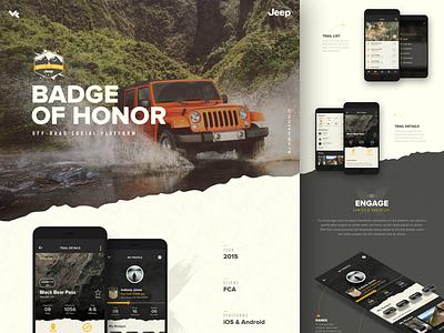 Jeep® Badge of Honor® ui vehicle case study adventure off road social app fca honor badge jeep