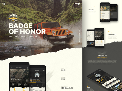 Jeep® Badge of Honor® ui vehicle case study adventure off road social app fca honor badge jeep
