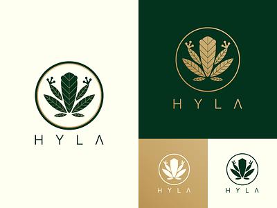 Hyla Logo weed marijuana medical gold branding logo frog cannabis hyla