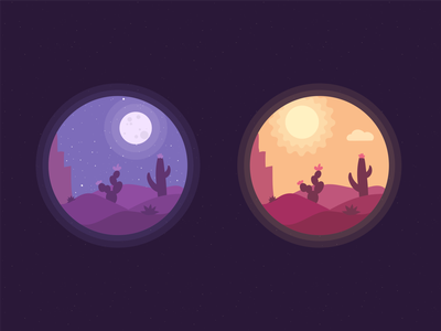 Day and Night - Illustration css transition svg animation svg daynight cosmos cactuses illustration day night