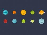 Planet illustration variations