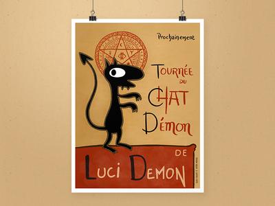 Tournée du Chat Démon - Luci procreate illustration demon luci poster blackcat chatnoir
