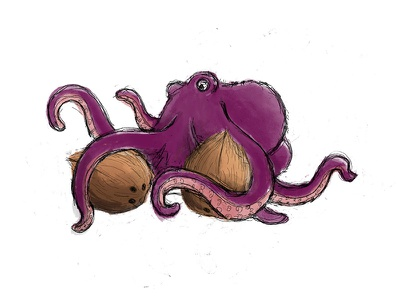 Octopus and coconuts - WIP octopus illustration coconuts illustration octopus