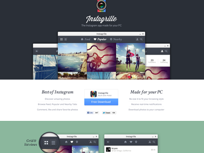 Instagram viewer app landing page by Bryan Sleiter on Dribbble