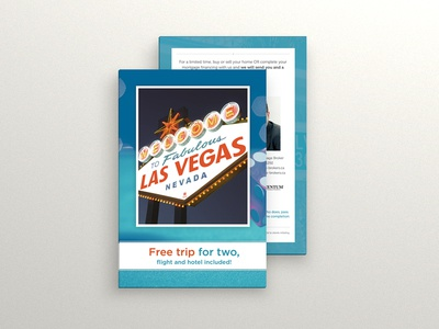 Las Vegas Postcard  postcard blue red custom design las vegas