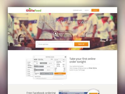 Food ordering system website website food orange green red layout design flat ui ordering system