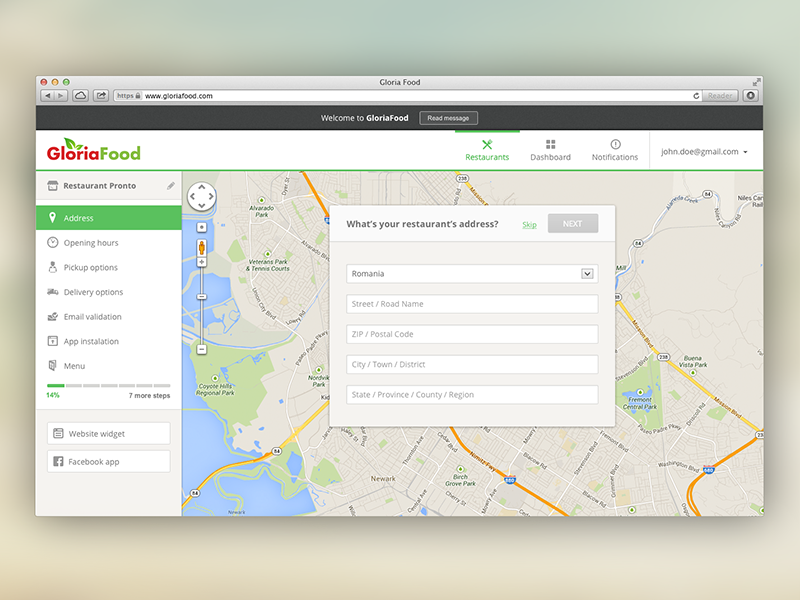 Food delivery system dashboard