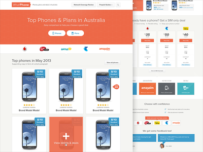 WhatPhone Redesign orange website site design simple ui phone deals landing page splash page
