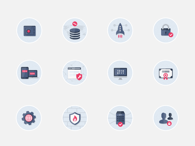 Security Flat Icons Pack encryption icons flat circle illustration flat icons safe server certificate authentication firewalls deployment