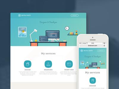 Personal Website Redesign website design portfolio responsive blue clean bota iusti portfolio site workspace web illustration