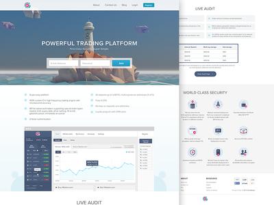 Trading Platform Website trading bitcoin website ui design clean site icons