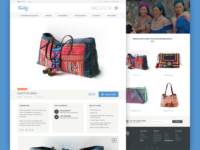 Fairly Product Page design shop bag fashion interface e-commerce product page web design