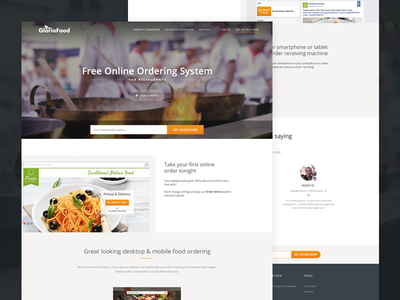 Website for a food ordering system