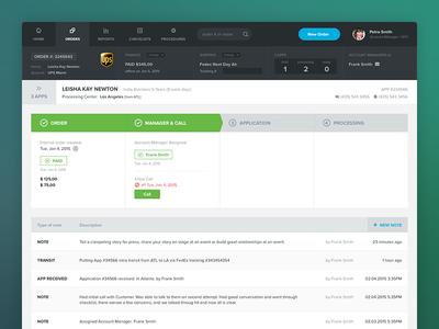 Order Processing App navigation mobile product steps ui interface flat green app admin dashboard