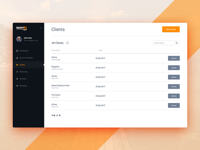 Dashboard - Clients List icons list data grid product navigation flat ux interface ui admin dashboard