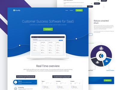 Custify Website blue saas customer communication design clean