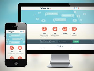 Responsive Landing Page responsive website blue orange ui interface iphone ipad mobile landing page