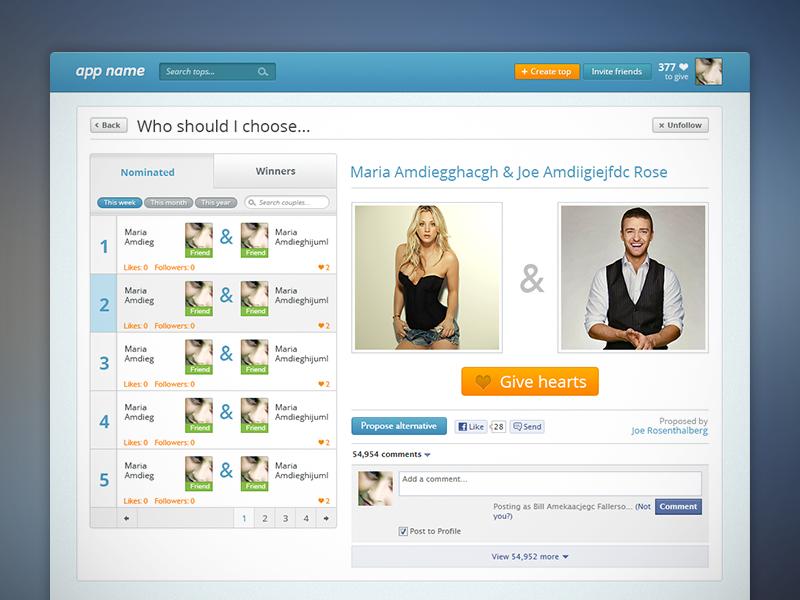 Web App Design application interface design orange blue ui gui app dashboard simple clean top list facebook app
