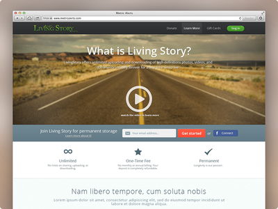 Homepage for a web app