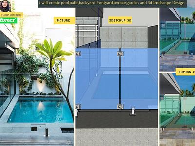 Swimming Pool 3d modeling ,Rendering lumion vray sketchup gardening frontyarddesign backyarddesign patiodesign pooldesign landscapedesign interiordesign