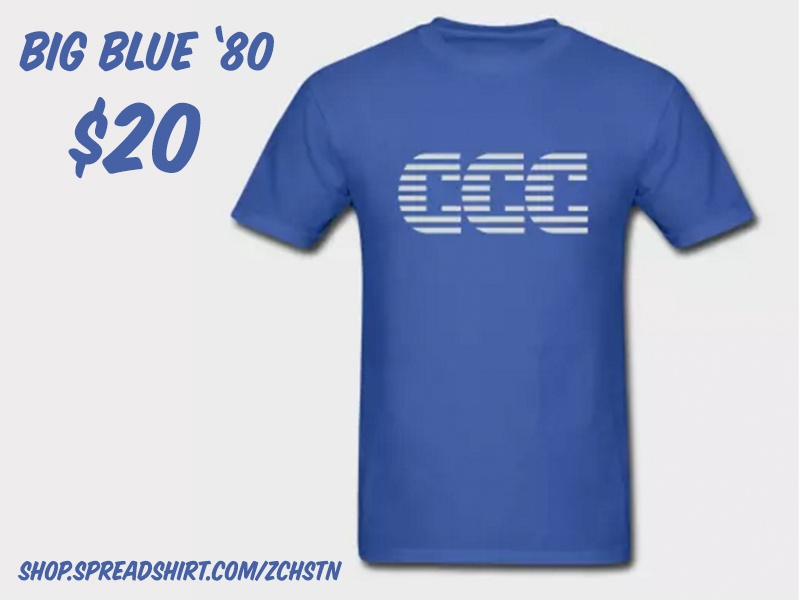 Big Blue '80 from ZCHSTN parody graphic tee shirts