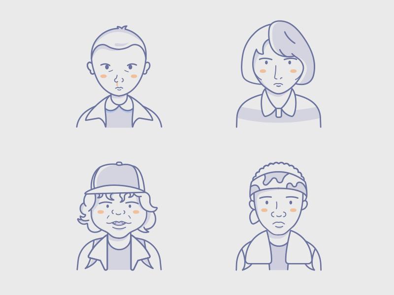 Stranger Things Avatars icon kids character stranger tv vector illustration icons avatars