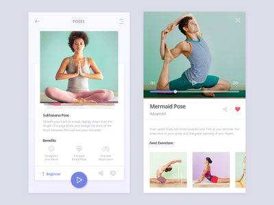 Yoga Time! yoga video ui relax purple poses mobile health exercise design benefits app