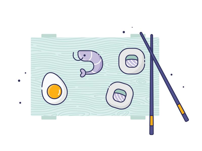 Sushi time! design icon costa rica ui dinner lunch fish egg japanese shrimp sushi icons outline icons outline vector illustrator ilustracion illustration ai