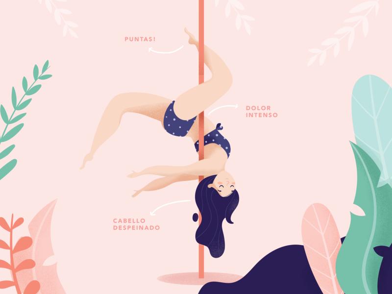 I turn 2 years doing pole! pink app cute adobe vectors ilustracion girl nature plants women poledance sport pole design illustrator vector costa rica icon illustration ui
