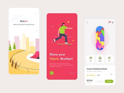 Skatom Application application spalash screen onboarding illustration skateboard dashboard app