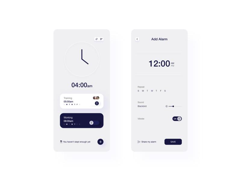 Minimalist alarm design design ui minimal