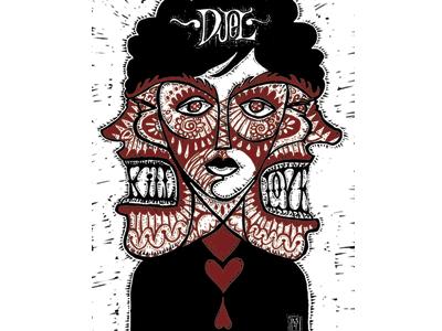 Duel 1 illustration hand lettering art lettering love