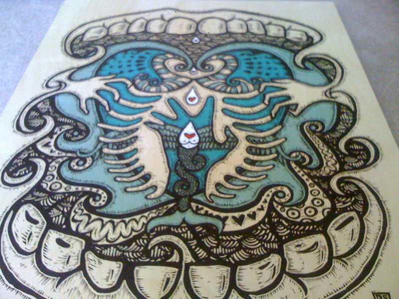 """""""love"""" - Printed on wood illustration person personal art hand drawn love drawing"""