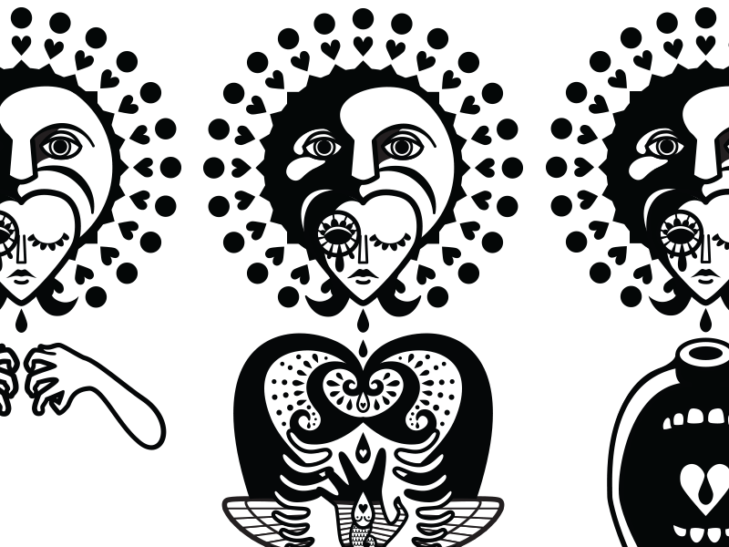Triptych - WIP vector illustration drawing doodle love person personal art