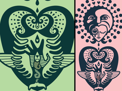 Triptych - middle section close up vector illustration drawing doodle person personal art
