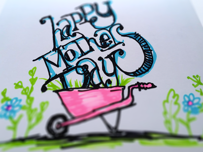 Sharpie sketch card illustration lettering typography floral flowers plants mom drawing sketch