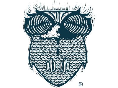 Owl Wave art personal doodle drawing illustration vector surf waves ocean bird owl