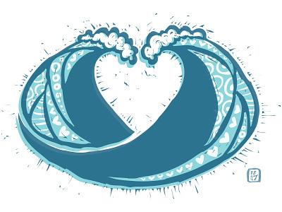 Wave Heart love heart ocean waves surf vector illustration drawing doodle personal art