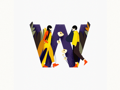 W fashion brand graphic design fashion forest charater design girls design studio colorful design dribbble 36daysoftype illustration