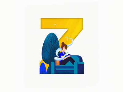 Z fresh free thought coffee design colorful design 36daysoftype im designs illustration