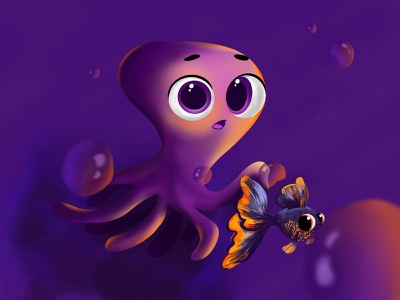 Cute Octopus childrenbook children eyes character cute bubble fish octopus dribbble illustration