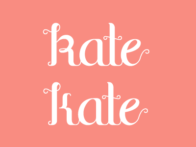 Which one? redesign design logo name kate letters type typography hand drawn website identity