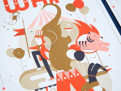 What. A. Circus. Fame Event Illustration metallic ink animals tiger elephant ringleader invitation circus fame illustration